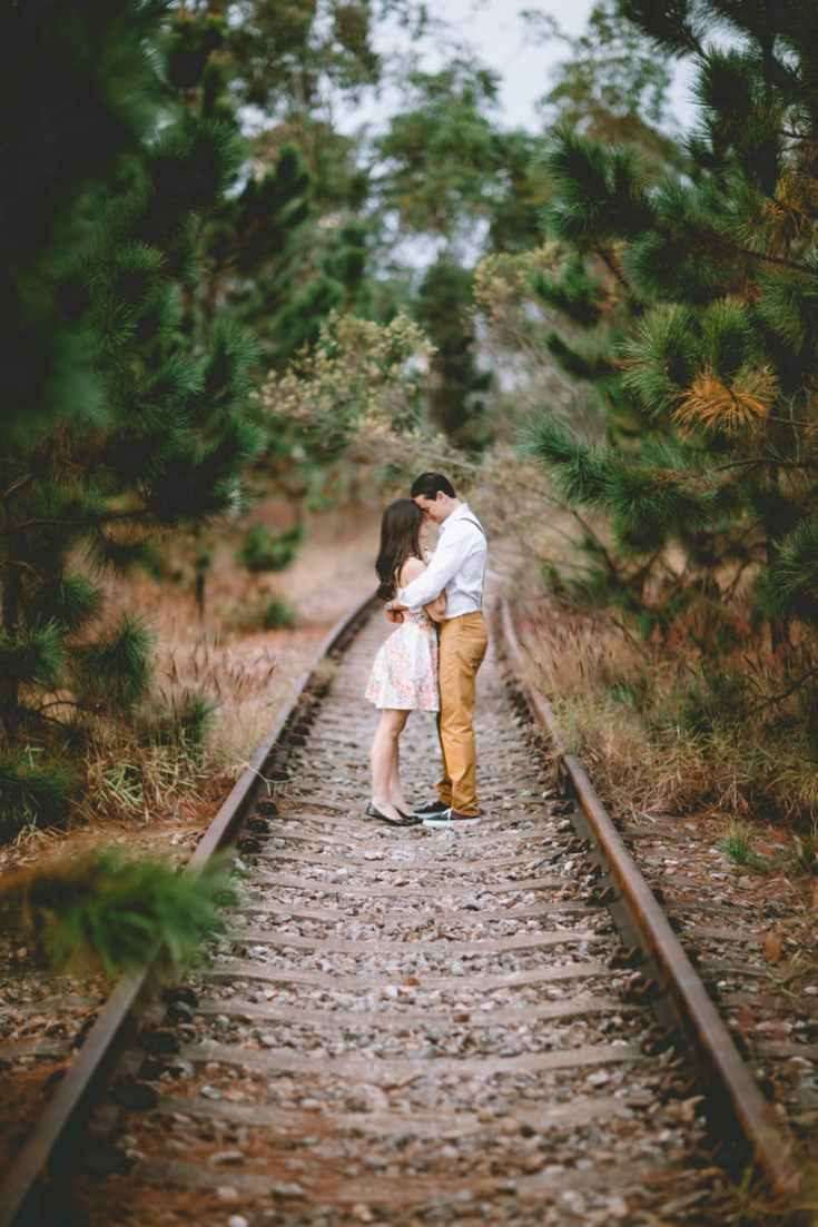 couple on railroad