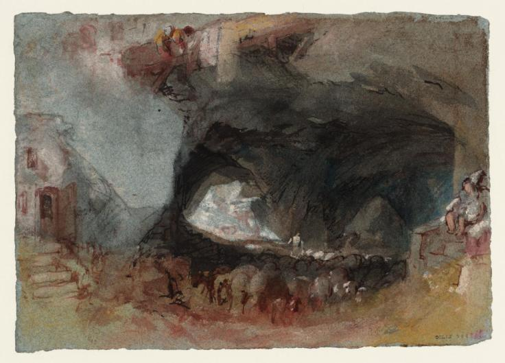 Cave Interior with Wine Barrels, near Saumur c.1826-8 by Joseph Mallord William Turner 1775-1851